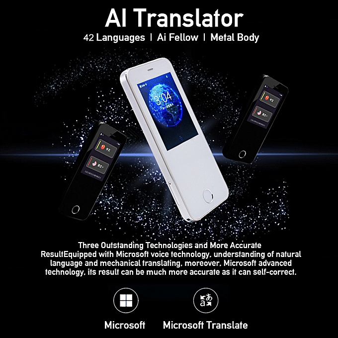 Smart Voice Translator Support 42 Languages Simultaneous Interpreting for  Travel/Study/Business (White)