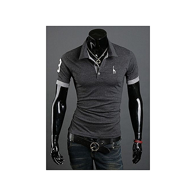c90c16a33 T-shirt men's short-sleeved shirt popular fashion pop polo shirt-grey
