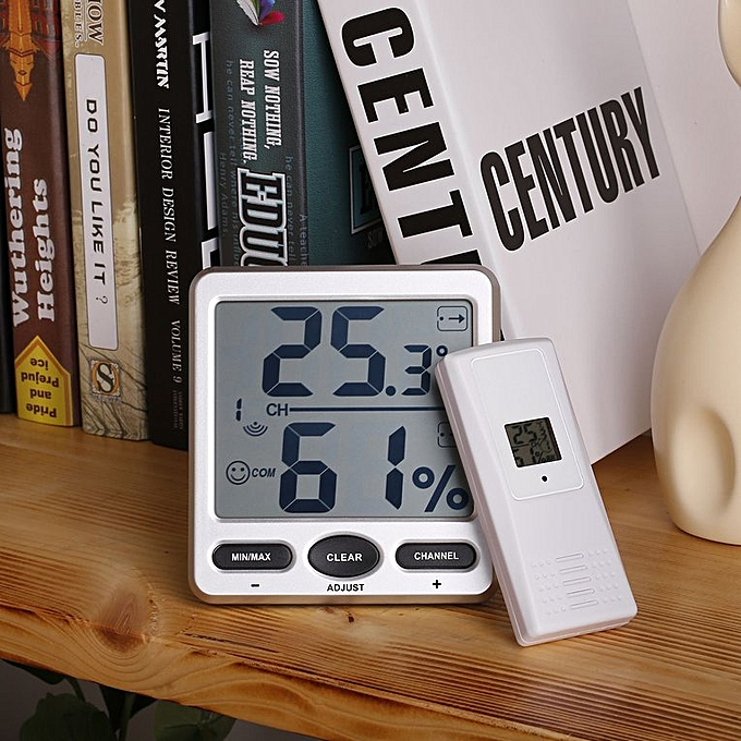 Weather Station 8-channel Wireless Thermo-Hygrometer With 3 Remote Sensor  Silver & black 3 Remote sensors