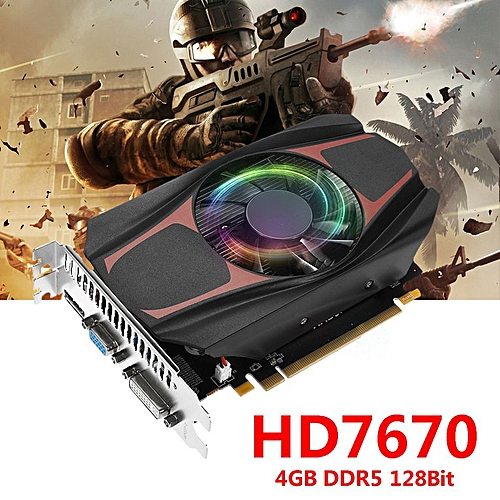 HD7670 128Bit Gaming Graphics Card With Cooling Fan PCI-Express GPU black