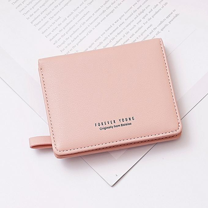 Hiamok _Women Short Wallet Fresh Student Bag Simple Multi-card Seat Buckle  Coin Purse