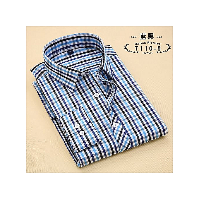 d61c543738 ... Large Size Mens Plaid Casual Shirts Long Sleeve 100% Cotton Dress Shirt  Men Retro Style ...