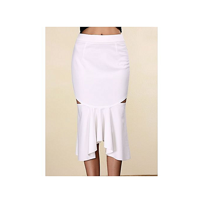 2f548d2a44 Womens Stylish Pure Color Mermaid Cut Out Skirt