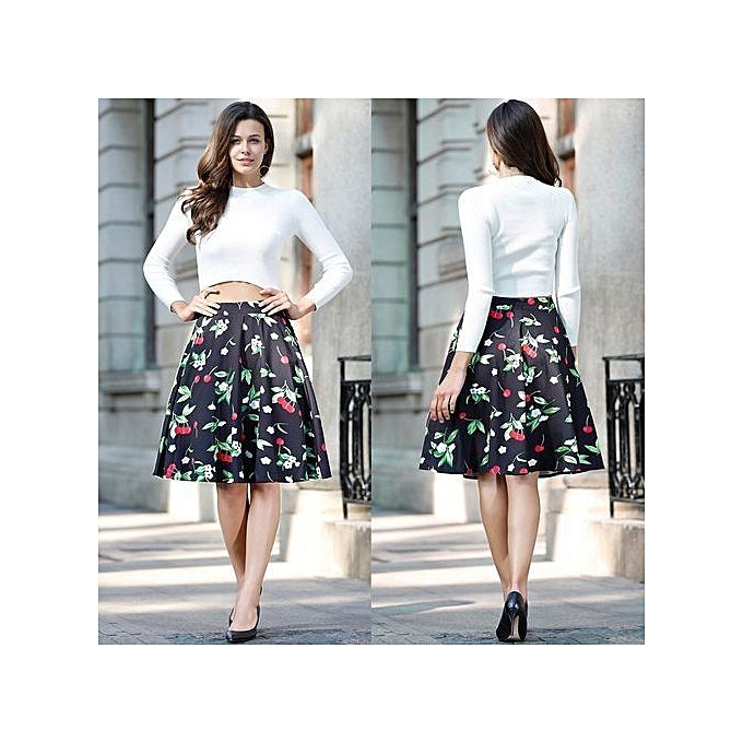307bf622f1 Woman Retro Red Rose Flower Bouquet Floral Print High Waist Midi Skirts  Knee-Length Long