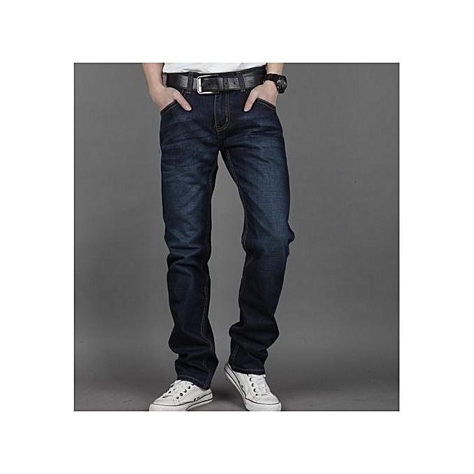 3565667e97 Hot Sale Men's Straight Leg Jeans Slim Fit Denim Pants Causal Trouser-Dark  Blue