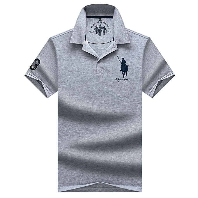 6bf8a881a Men's Short Sleeve Cotton Lapel Solid Color Polo Shirt-grey
