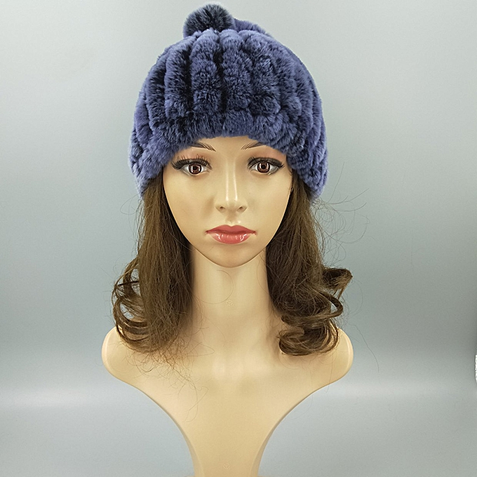 6eaf6a8e9 Mink Fur Hat Women Winter Fluffy Knitted Cap Warm Skiing Pineapple Hats