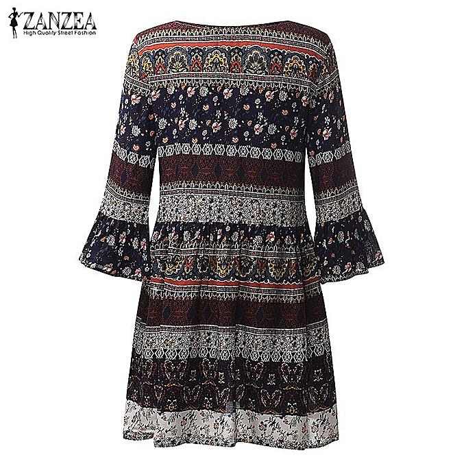 2b2439f832 ... ZANZEA Women Vintage Floral Print Mini Dress Ladies Sexy V Neck Lace Up  3/4 ...