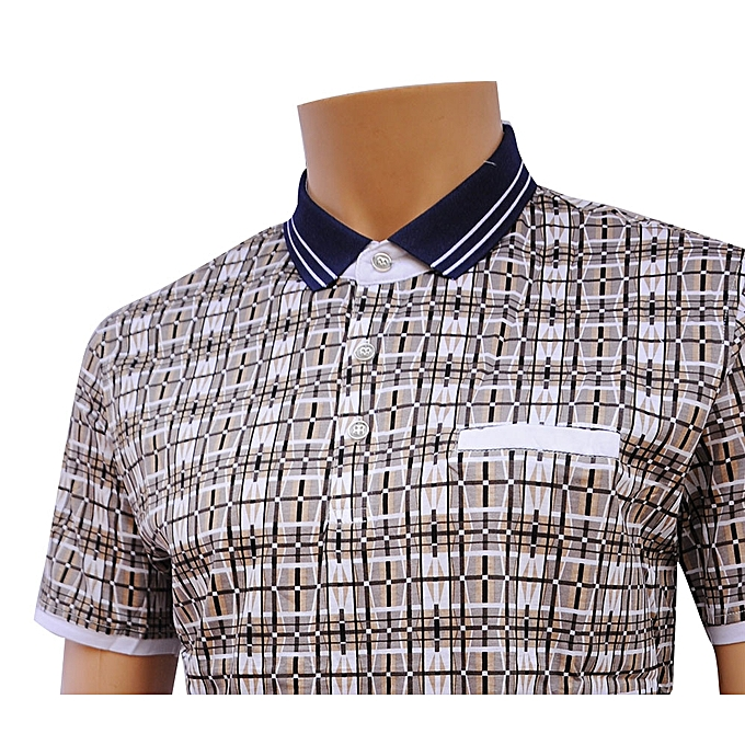 Buy patterned short sleeve polo shirt brown best for Best buy now pay later