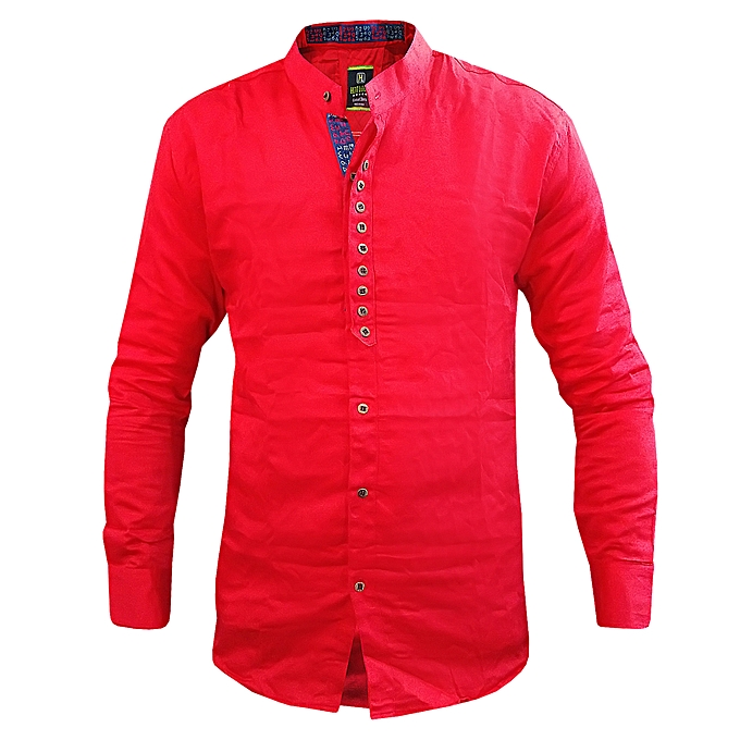 7152d4424 Fitting Chinese Collar Designed Men's Formal And Gentle Shirt - Red