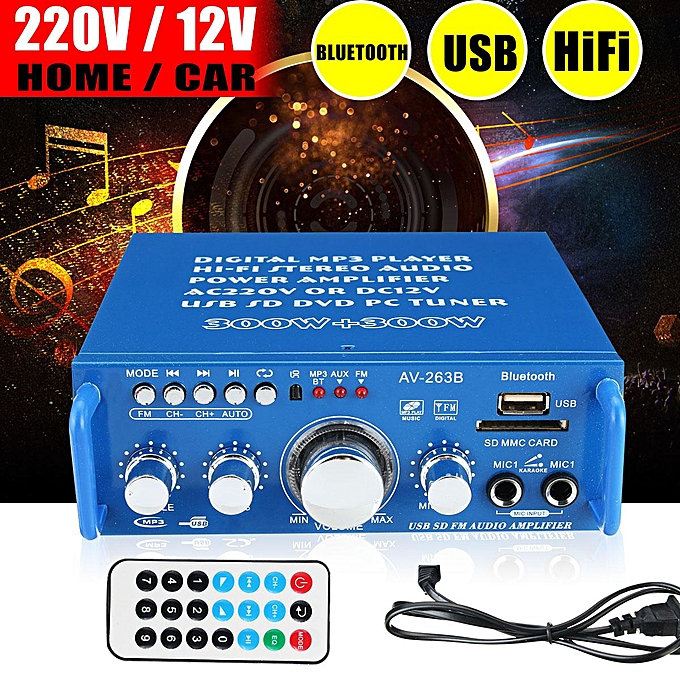 2 Channel Home Car Power Amplifier Audio Stereo USB Bluetooth Hi-Fi 220V /  12V Blue