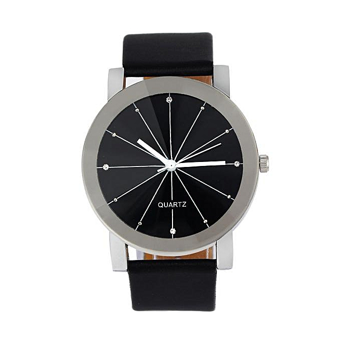 Hiamok Men Quartz Dial Clock Leather Wrist Watch Round Case Bk