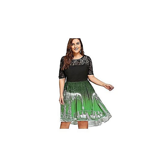 80b91c7f1b023 Plus Size Christmas Party Lace Panel Vintage Dress—green