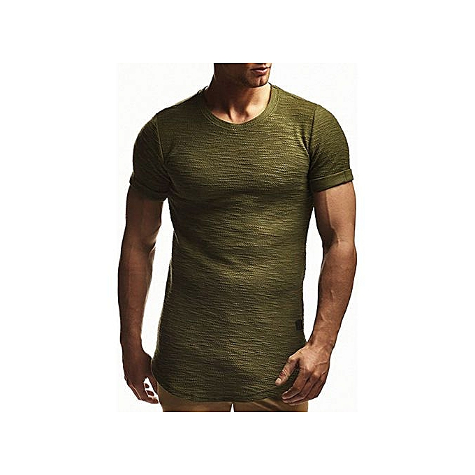fb6a56af3d55 Summer European code round neck solid color leather short-sleeved T-shirt- army